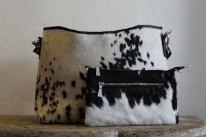 Cow Hide Messenger Bag in Black