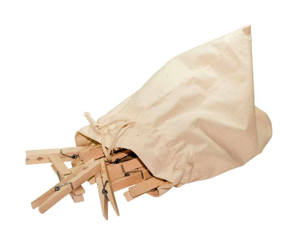 Wooden Clothes Pegs in Cotton Bag