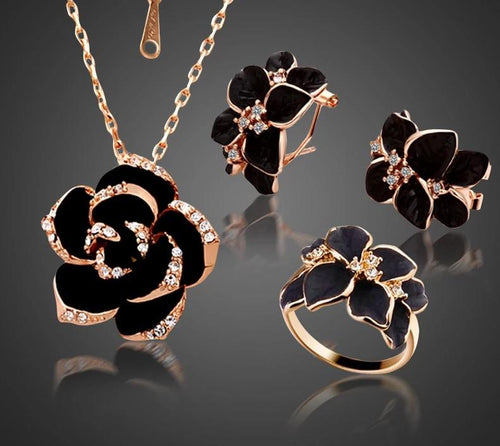 Rose Gold Color Black Painting Bridal Jewelry Sets