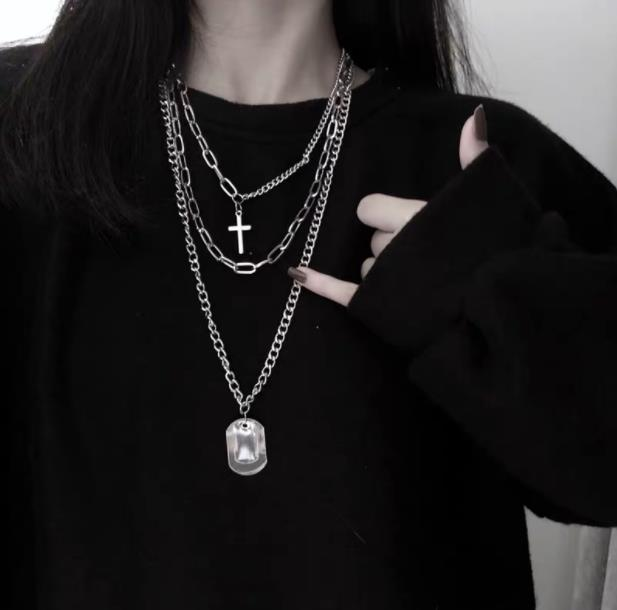 Cross Square Metal Multilayer Hip hop Long Chain