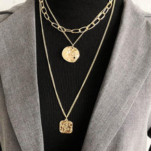 Load image into Gallery viewer, Cross Square Metal Multilayer Hip hop Long Chain
