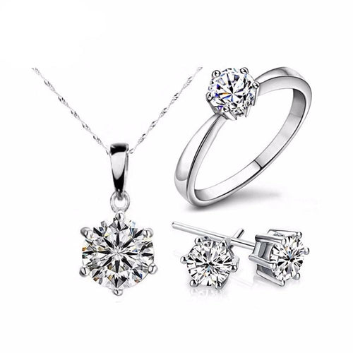 Necklace & Earrings Rings Wedding Jewelry Set