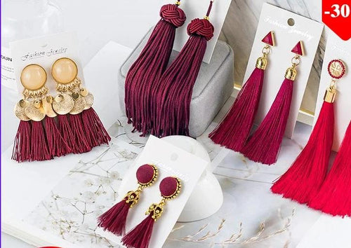 Tassel Crystal Long Drop Earrings for Women