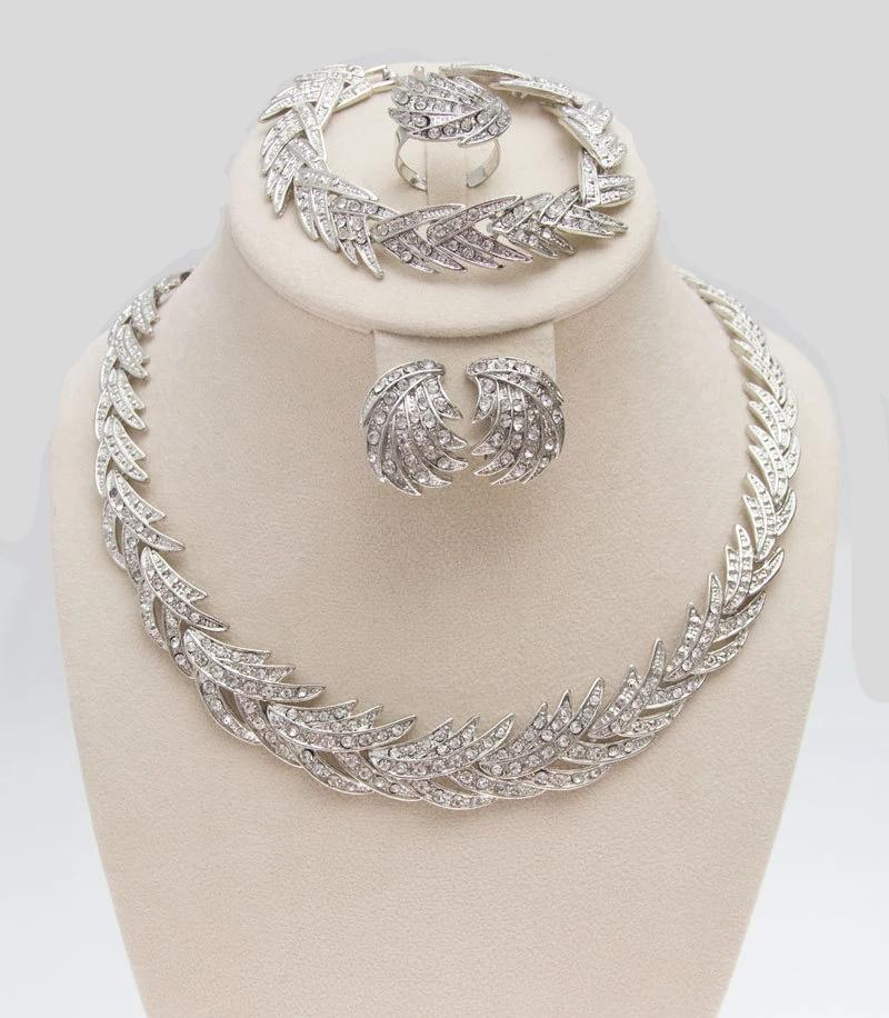 Leaves Shape Silver Plated Clear Crystal Jewelry Set