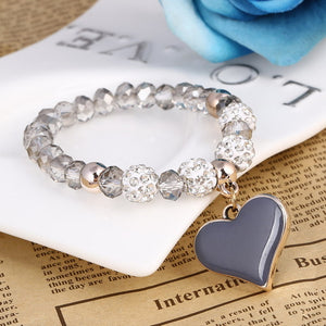 Heart Pendant Bracelets with bling crystal