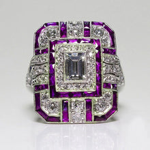 Load image into Gallery viewer, Silver Big Square Rings for Women