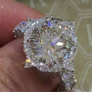White Cubic Zircon Engagement Ring