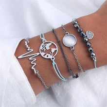 Load image into Gallery viewer, Arrow Knot Round Crystal Multilayer Adjustable Open Bracelet Set