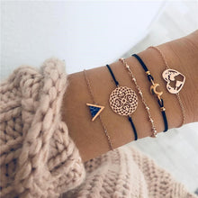 Load image into Gallery viewer, Heart Compass Gold Color Chain Bracelets Sets