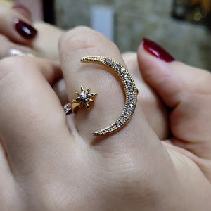 Cute Moon and Star Adjustable Rings with Zircon Bling Stone