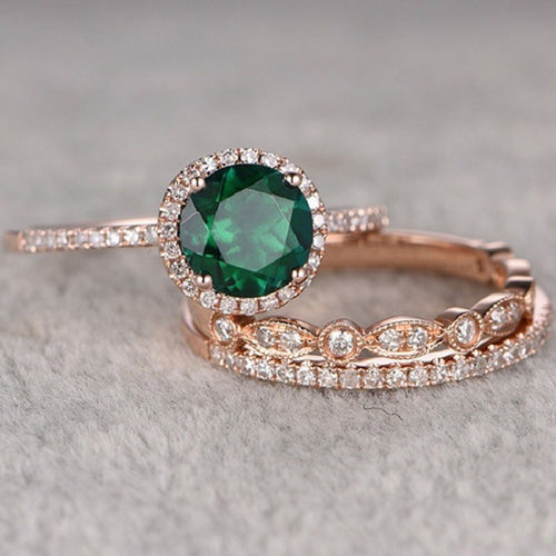 Green Stone Crystal Engagement rings for Women
