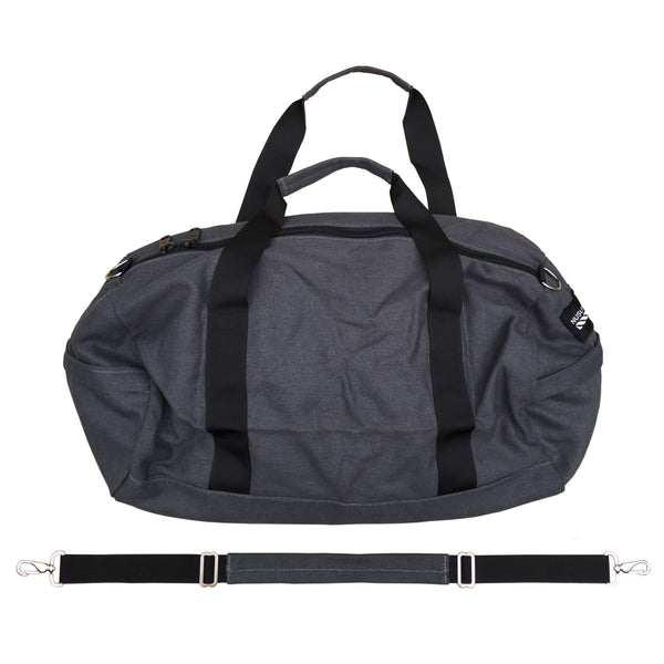 100% HEMP CANVAS DUFFLE BAG - CHARCOAL GREY