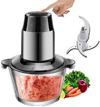 Load image into Gallery viewer, Meat Grinder Machine | Bowl | 2 LTR. CAPASITY | 350 Watt | Kitchen Food Chopper | Meat | Vegetables | Onion | Fruit & Nuts Blender | Stainless Steel & ABS |
