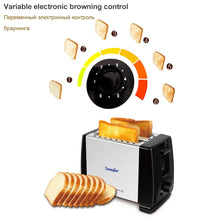 Load image into Gallery viewer, 2 Slices Stainless steel toaster Automatic Fast heating bread toaster Household Breakfast maker Sonifer