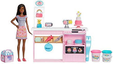 Load image into Gallery viewer, Barbie Cake Decorating Playset with Brunette Doll, Baking Island and Toy Icing Pieces: