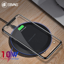 Load image into Gallery viewer, ESVNE 10W Fast Wireless Charger for iPhone X Xs MAX XR 8 plus Charging for Samsung S8 S9 Plus Note 9 8 USB Phone Qi Charger Pad
