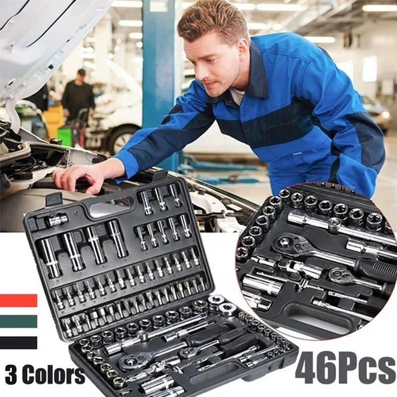 46pcs Wrench Socket Set Hardware Spanner Screwdriver Ratchet Wrench Set Kit Car Repairing Tools Combination Hand Tool Sets