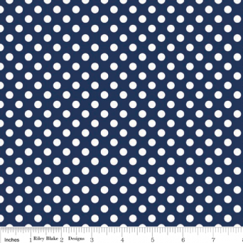 White on Navy Small Dot