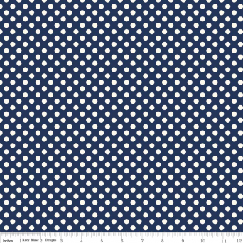Navy on Cream Small Dot