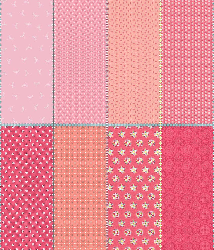 Paper Daisies Pink Fat Eighth Panel