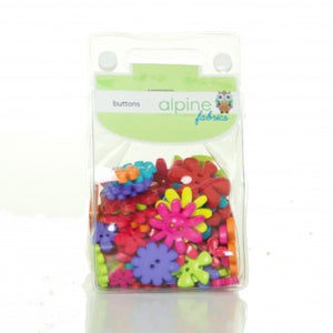 Novelty Button Pack - Flo Bright Flower