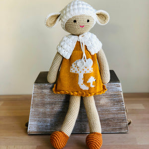 Lamb Mustard Dress Crochet Doll