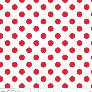 "Red on White Medium Dot 108"" Wideback"