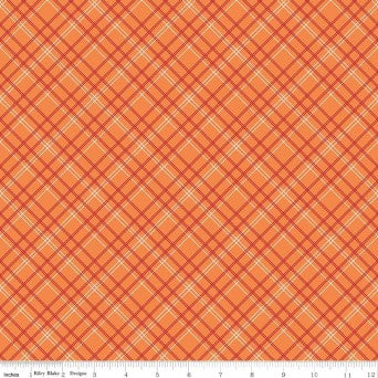 "Bee Backing Plaid Orange 108"" Wideback"