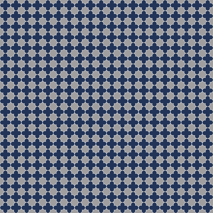 Mini Quatrefoil Gray-Navy