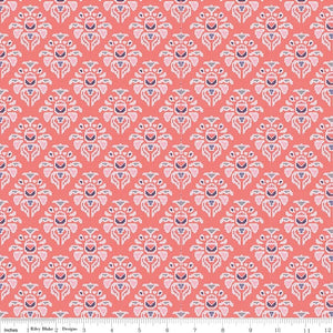 Midnight Rose Damask Coral