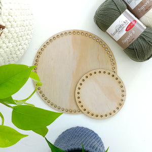 wooden crochet basket base - Round
