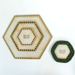 wooden crochet basket base - Hexagon