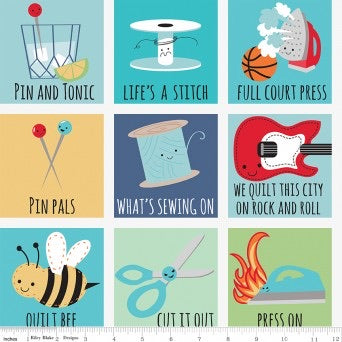 Sew Chatty Puns Grid Blue