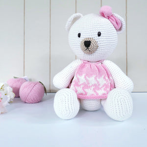 Teddy Pink Dress Crochet Doll