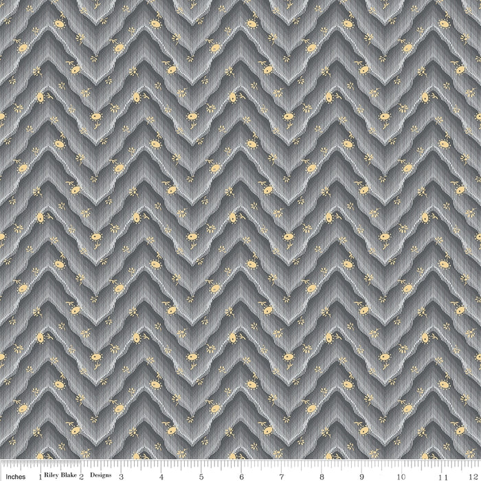 Floral Hues Gray Floral Chevron