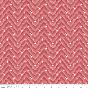 Floral Hues Red Floral Chevron
