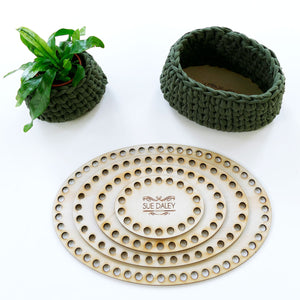 wooden crochet basket base - Oval