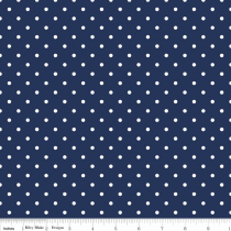 Swiss Dots White Dot on Navy