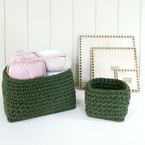 wooden crochet basket base - Square