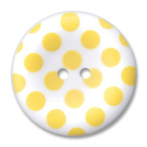"1.5"" Polka-dot Round Button Yellow"