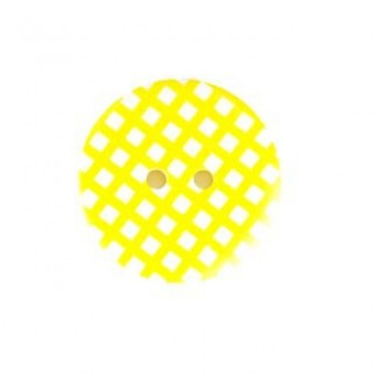 "1"" Gingham Round Button Yellow"