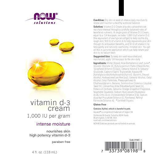 NOW Solutions, Vitamin D-3 Cream 1, 000 IU Per Gram, Intense Moisture, 4 fl/oz