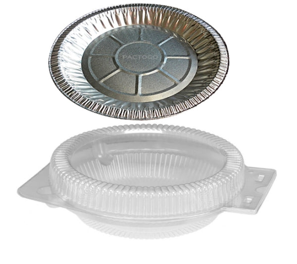 "10"" Foil Pie Pan w/Clear Low Dome Clamshell"