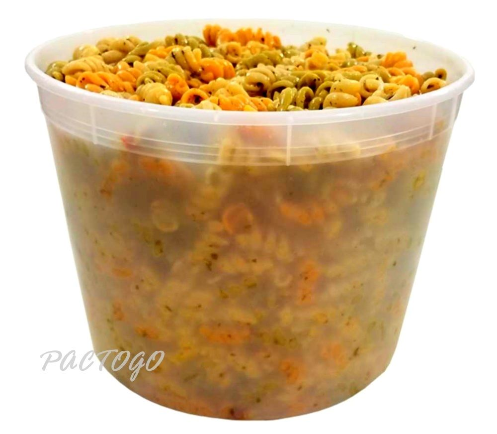 128 oz. Round Microwaveable Soup Container w/Lid Combo