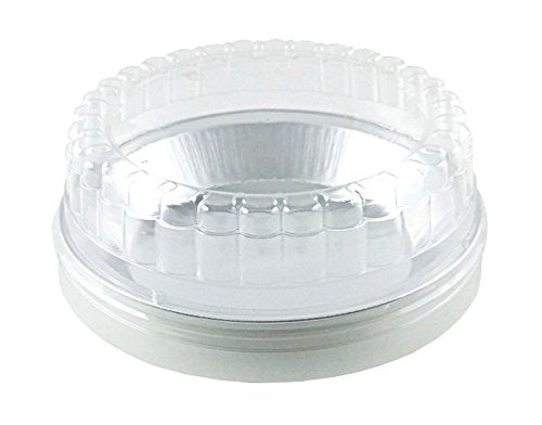 "Handi-Foil 9"" Smooth-Wall Deep Foil Pie Pan 1 3/16"" Deep w/Clear Low Dome Lid 50/PK"