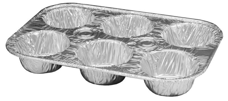 Durable 6-Cup Foil Muffin Pan 50/PK