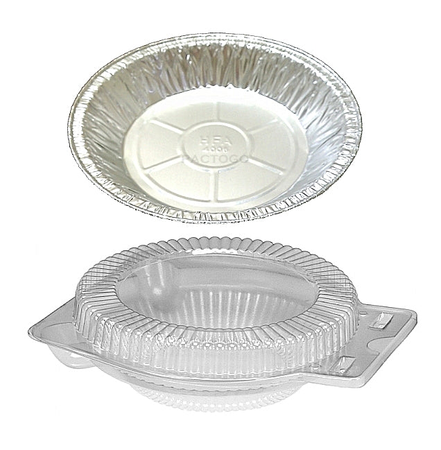 "HFA 6"" Foil Pie Pan w/Clear Clamshell Container"
