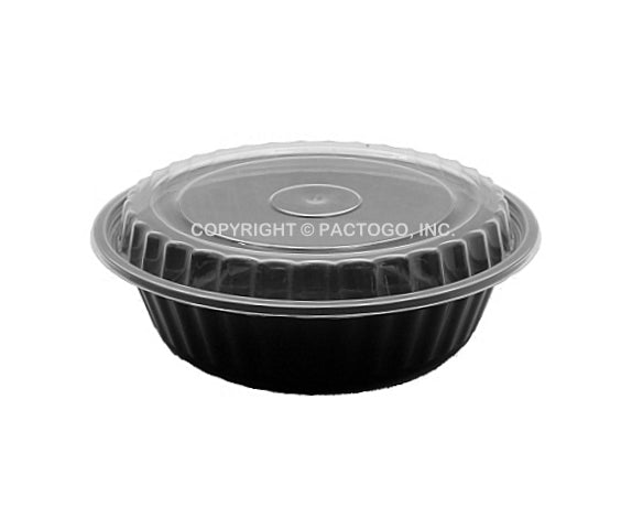 "16 oz. 6"" Round Black Container W/Lid Combo 50/PK"