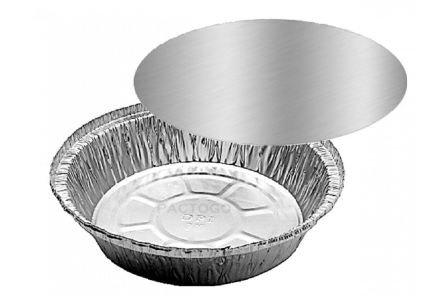 "7"" Round Foil Take-Out Pan w/Board Lid Combo Pack"