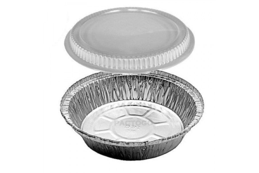 "7"" Round Foil Take-Out Pan w/Dome Lid"